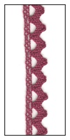 Woven Cranberry Lace Trim with Scalloped Edges 9mm