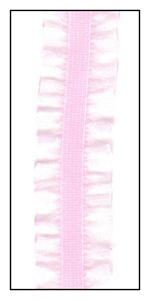 Baby Pink Organdy Double Ruffle on Elastic 16mm