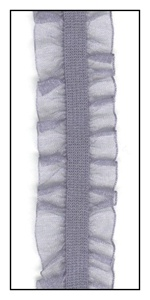 Gray Organdy Double Ruffle on Elastic 16mm