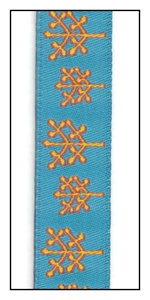 Bare Trees on Turquoise Woven Ribbon 16mm