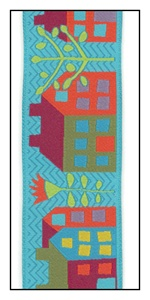 Houses in Town Woven on Turquoise Ribbon 38mm