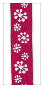 Snowflakes on Red Woven Ribbon 16mm