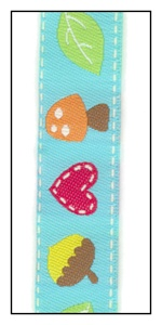 Hearts and Mushrooms on Turquoise Woven Ribbon 16mm