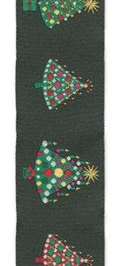 Christmas trees on black woven ribbon 40mm