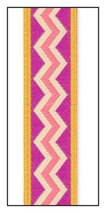 Fuchsia Zig Zag Meandering on Gold Woven Ribbon 16mm