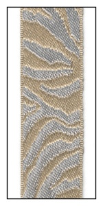 Silver and Tan Zebra Print Woven Reversible Ribbon 23mm