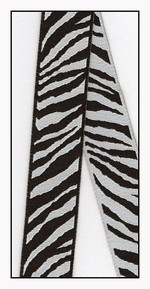 Zebra Print Woven Reversible Ribbon 23mm