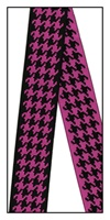 Hot Pink and Black Houndstooth Reversible Woven Ribbon 35mm