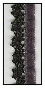 Dark Grey French Velvet with Black Lace Trim 15mm