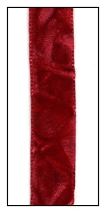 Scarlet French Crushed Velvet Ribbon 16mm