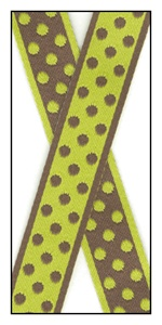 Polka dots woven onto the reversible ribbon 18mm