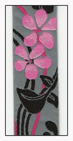 Pink Flowers on Grey Woven Ribbon 38mm