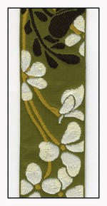 White Flowers on Olive Woven Ribbon 38mm