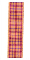 Orange and Red Plaid Ribbon 15mm