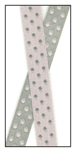 Pale Pink and Gray Reversible Satin Dots 9mm