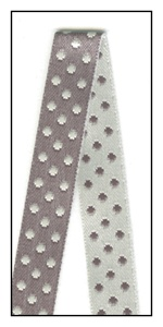 Cream and Gray Reversible Satin Dots 10mm