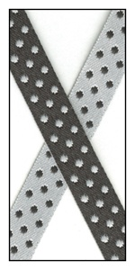 Black and White Reversible Satin Dots 10mm