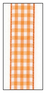 Orange Gingham Ribbon 15mm
