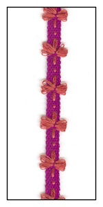A Magenta Ribbon with Lacey Flowers 8mm