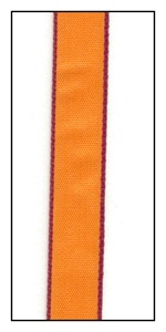 Cranberry Edged Tangerine Faveur Ribbon 10mm
