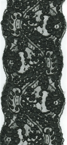 Super Wide Scalloped Black Floral Lace 125mm