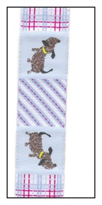 Little Dogs on Patchwork Woven Ribbon 22mm