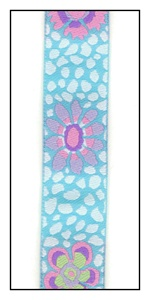 Pink and Lavender Flowers bursting on a Aqua Ribbon. 22mm