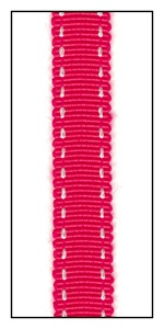 Cherry Red  Petersham Grosgrain with Double Running Stitch 10mm