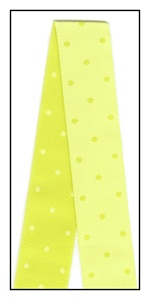Little Dots on Kiwi Ribbon Reversible. 22mm