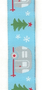 Silver Christmas Trailers on Blue Woven Ribbon. 22mm