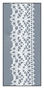 Torchon White Lace Trim with Scalloped Edges 22mm