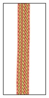 A woven orange and lime stripe ribbon tape