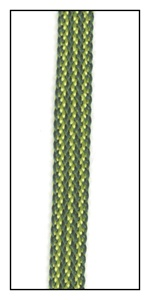 A woven green and lime stripe ribbon tape