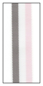 Sweet Pink, White and Gray Stripe Grosgrain Ribbon 15mm