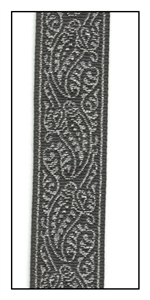Metallic Paisley on Black Woven Ribbon 16mm