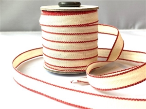 Natural with Red Italian Drittofilo Ribbon 10mm