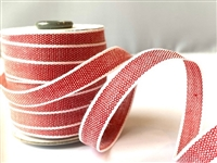 Red with White Italian Drittofilo Ribbon 10mm