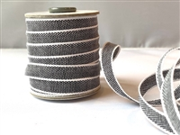 Black with White Italian Drittofilo Ribbon 10mm