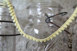 Pale Yellow Pom Pom Fringe 10mm Trim with 6mm Balls