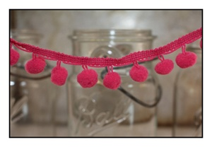 Fuchsia Pom Pom Fringe 25mm Trim with 10mm Balls