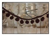 Chocolate Pom Pom Fringe 25mm Trim with 10mm Balls
