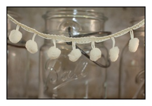 Cream Pom Pom Fringe 25mm Trim with 10mm Balls