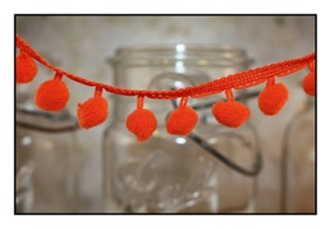 Bright Orange Pom Pom Fringe 25mm Trim with 10mm Balls