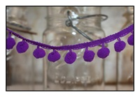 Purple Pom Pom Fringe 25mm Trim with 10mm Balls