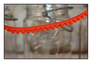 Bright Orange Pom Pom Fringe 10mm Trim with 6mm Balls