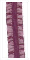Grape Organdy Double Ruffle on Elastic 16mm