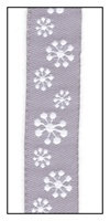 Snowflakes on Gray Woven Ribbon 16mm