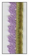 Lime French Velvet with Lavender Lace Trim 15mm