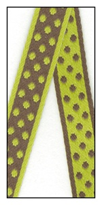 Polka dots woven onto the reversible ribbon 12mm