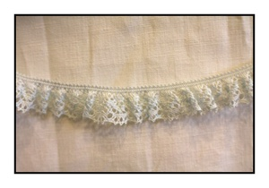 Woven Baby Blue Lace Trim with Scalloped Edges 20mm
